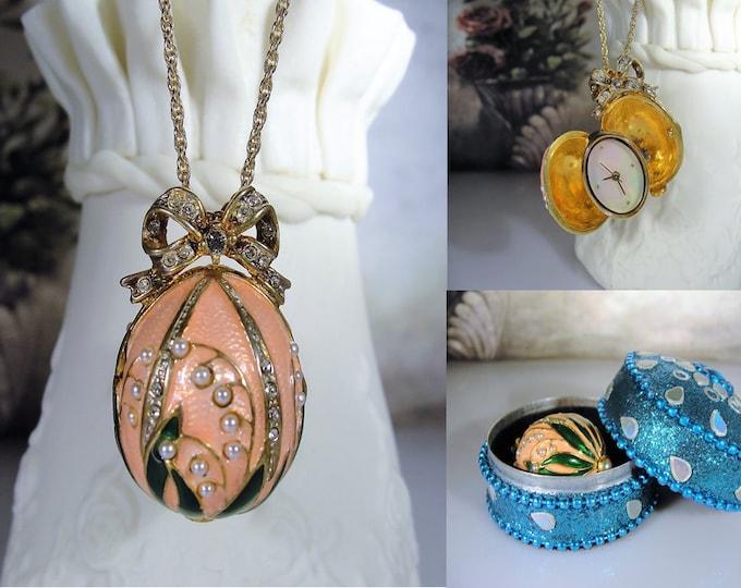 Faberge Enamel Egg Watch Pendant, Seed Pearls, Swarovski Crystals, Guilloche Enamel, Vintage Watch Pendant, Watch Necklace, Original Box