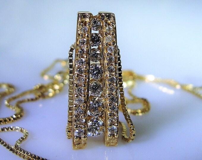 14K Gold Necklace, Diamond Journey Necklace, Genuine Diamonds, Diamond Necklace, 14K Yellow Gold, Vintage Necklace, Life Journey Necklace