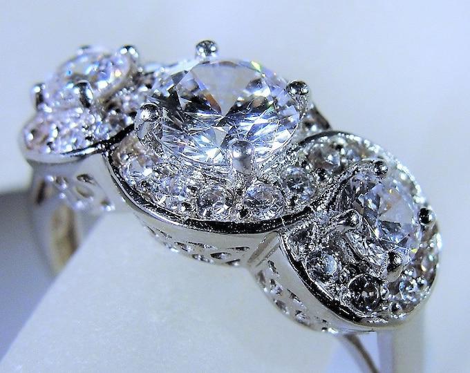 14K Art Deco Style White Gold Haloed CZ Diamond Trilogy Ring, Anniversary Ring, Engagement Ring, 1.5 Carat Ring, Vintage Ring, Size 8