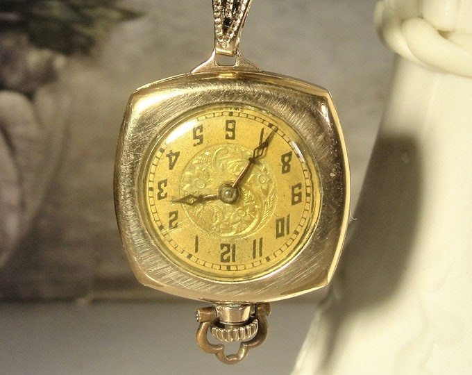 "1920s Art Deco Pendant Watch, GIROD Pocket / Pendant, Twisted 24"" Chain, 12K Gold Filled Watch, Pocket Watch, Pendant Watch, Vintage Watch"