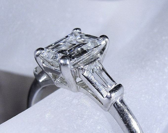Platinum Emerald Cut Diamond Ring, Genuine .95 CTW Diamond Ring, Engagement Ring, Retro Diamond Ring, Vintage Ring, Size 6.5, FREE SIZING!!