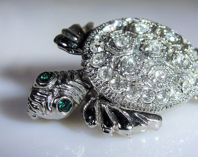 Art Deco Style Rhinestone Turtle Brooch and Necklace, Convertible Turtle Brooch, Silver Tone Brooch and Sterling Silver 24 Inch Chain
