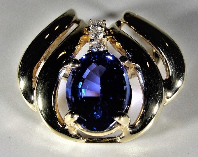 Tanzanite & Diamond Pendant, 14K Yellow Gold Tanzanite and Diamond Slider Pendant, Natural Tanzanite and Diamonds, Vintage Pendant