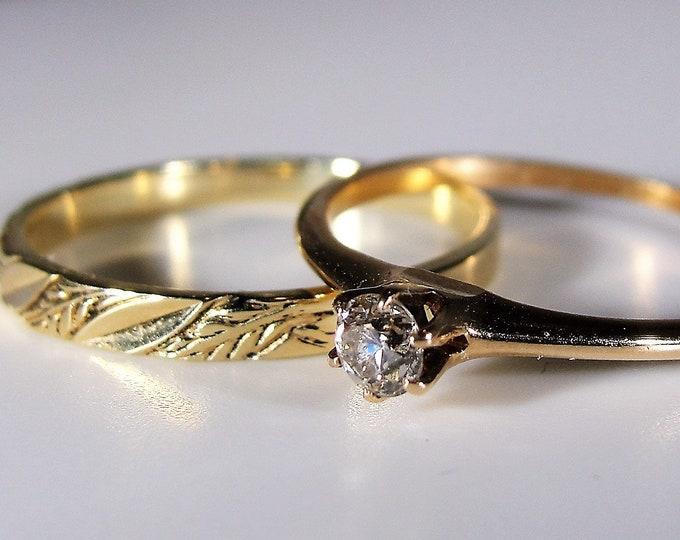 Victorian 14K & 10K Minimalist Bridal Ring Set, European Cut Diamond, Decorative Wedding Band, Size 6.5, FREE SIZING!