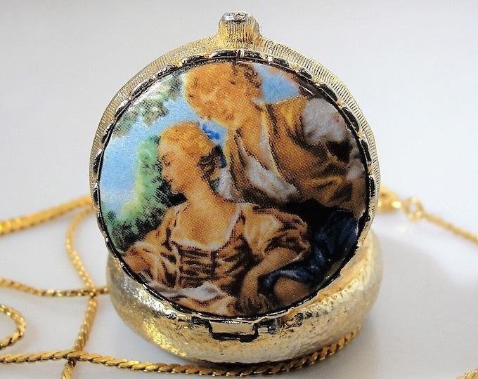 Perfume Locket Necklace, French Romantic Transfer Print Perfume Locket Necklace, Compact Style Perfume Locket, Vintage Necklace