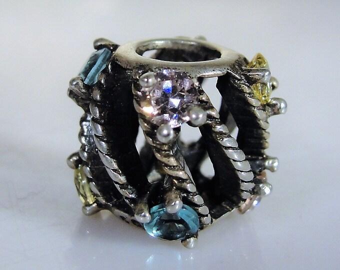 Sterling Silver SWAROVSKI Charm, Bracelet Charm, Bangle Charm, Necklace Charm, Swarovski Crystals Charm, Vintage Charm