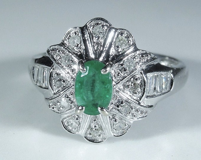 Emerald Ring, 10K White Gold Art Deco Green Emerald and Diamond Ring, Right Hand Ring, May Birthstone, Size 6.25, Vintage Ring, FREE SIZING!