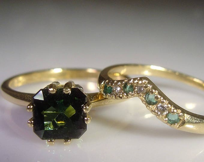 14K Bridal Ring Set, Green Tourmaline Engagement Ring, Green Emerald & Diamond Chevron Wedding Band, Vintage Wedding Rings, Size 6.5