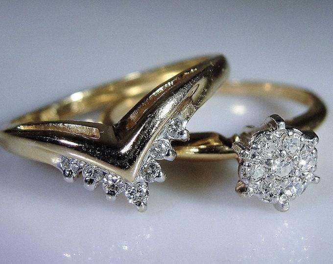 Bridal Ring Set, 14K Gold Diamond Cluster Engagement Ring, Diamond Chevron Wedding Band, Vintage Wedding Rings, Size 6.5, FREE SIZING!!