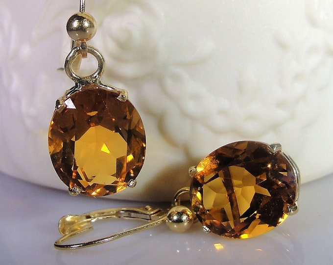 Pierced Earrings, 14K Yellow Gold Genuine Golden Citrine Lever Back Earrings, 10 CTW, 5 Carats Each, Vintage Earrings