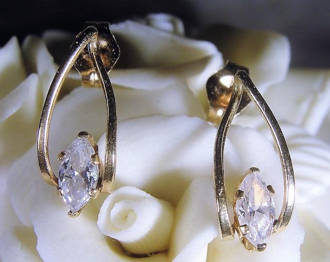 14K CZ Marquise Stud Earrings, 14K Gold Earrings, CZ Marquise Earrings, Drop Earrings, Marquise Earrings, Pierced Earrings, Vintage Earrings