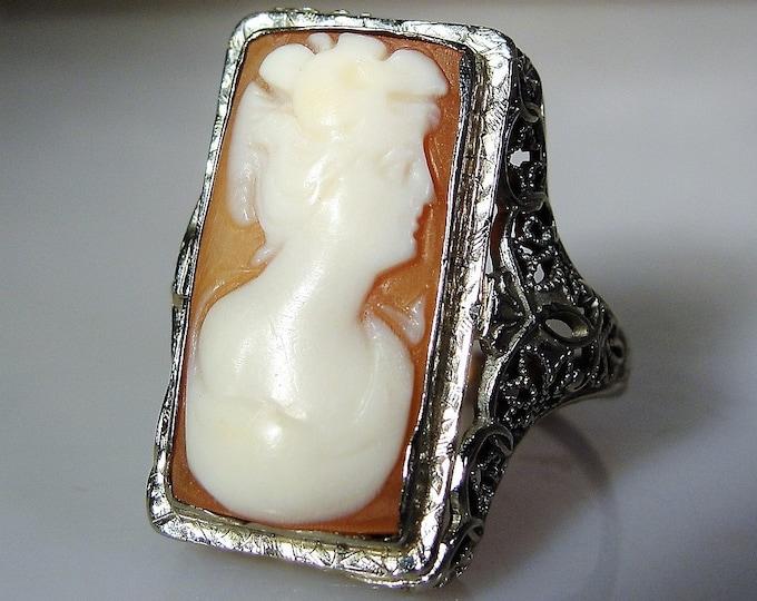 Cameo Ring, 18K White Gold Cameo Ring, Edwardian Cameo Ring, White Shell Cameo, Vintage Cameo Ring, Size 5, FREE SIZING!!