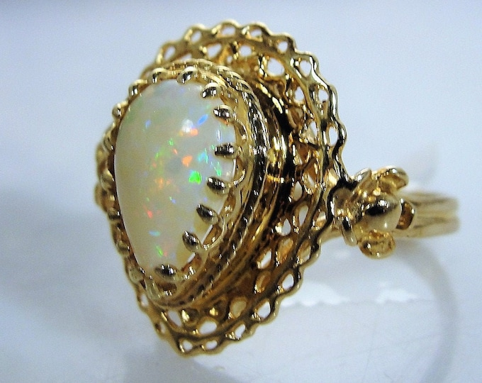 Art Nouveau 14K Opal Filigree Ring, Pear Shaped Opal, Statement Ring, Cocktail Ring, Right Hand Ring, Vintage Ring, Size 6.75, FREE SIZING!!