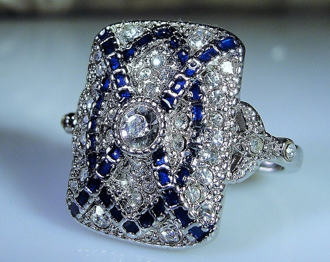 Art Deco Blue Sapphire and CZ Diamond Sterling Silver Ring, Art Deco Reproduction Ring, Cocktail Ring, Vintage Ring, Size 9