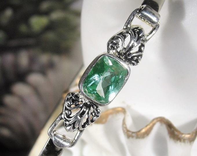 Green Prasiolite Bangle, Sterling Silver Prasiolite Bangle, Green Amethyst Bangle, Sterling Silver Bangle, Vintage Bangle