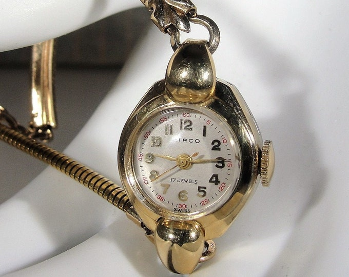 Women's Wrist Watch, Vintage HIROC 1920s 10K RPG 17 Jewels Mechanical Wrist Watch with a 12K Gold Filled Band