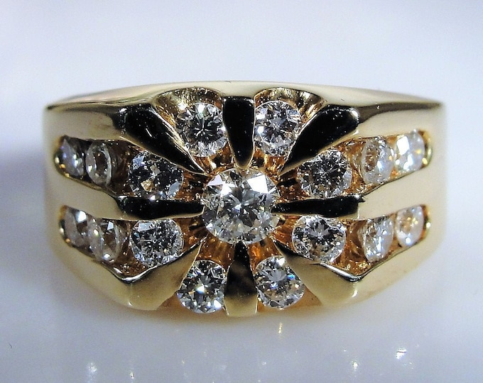 MAGIC GLO 14K Yellow Gold Man's Diamond Starburst Ring, Gentleman's Ring, Right Hand Ring, Man's Ring, Vintage Ring, Size 7.5, Free Sizing!!