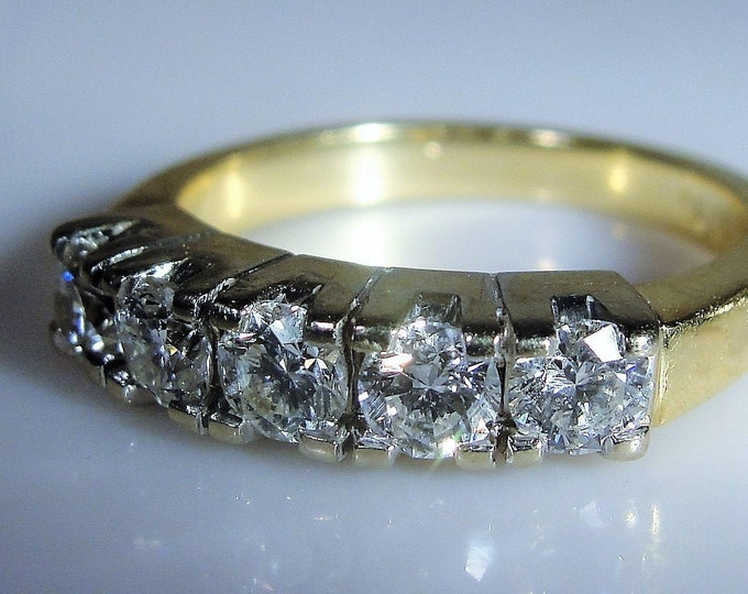 14K Diamond Anniversary Ring, 5 Stone Diamond Ring, Diamond Anniversary Band, Wedding Band, Vintage Wedding Ring, Size 6