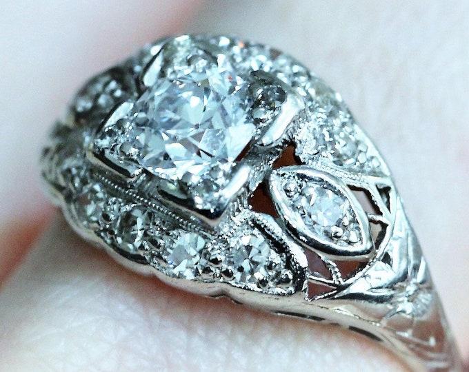 Art Nouveau Platinum Diamond Engagement Ring, .64CT European Diamond, Wedding Ring, Anniversary Ring, Vintage Ring, EGL Certified, Size 6