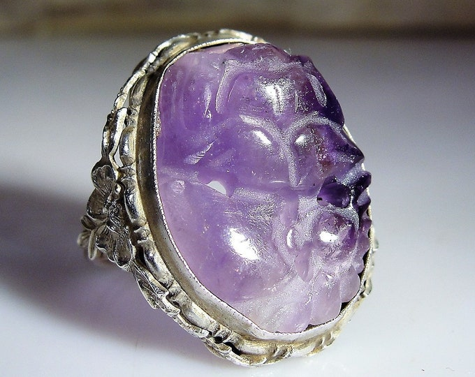 Amethyst Ring, Art Nouveau Ring with a Carved Amethyst Gem in Sterling Silver, Chinese Carved Flower Ring, Vintage Ring, Sz 5, FREE SIZING!!