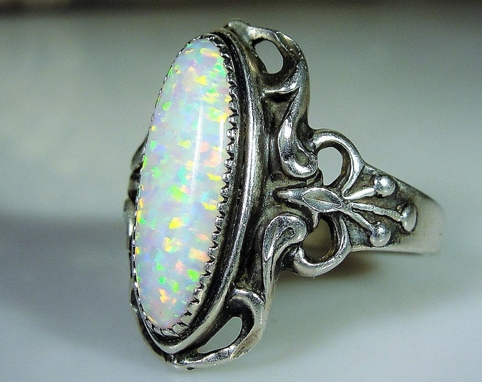 Beautiful Art Nouveau Sterling Silver Opal Ring, Opal Ring, Bow Accents, Right Hand Ring, Vintage Ring, Antique Ring, Size 8