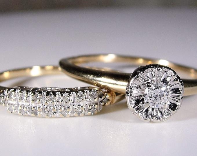 Bridal Ring Set, 14K Gold Diamond Engagement Ring and Diamond Wedding Band, Wedding Rings, Vintage Rings, Size 8.5, FREE SIZING!!