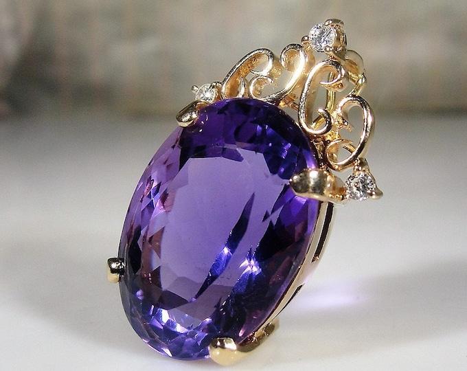 Amethyst & Diamond Pendant, 14K Yellow Gold Purple Amethyst and Diamond Pendant, Natural Amethyst and Diamonds, Vintage Pendant
