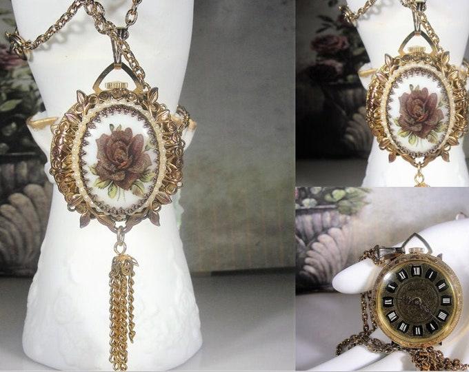 LUCERNE Lady's Pendant Watch, Mechanical Wind Up Vintage Necklace Pendant Watch, Porcelain & Seed Pearl Embellishment, Vintage Watch Pendant
