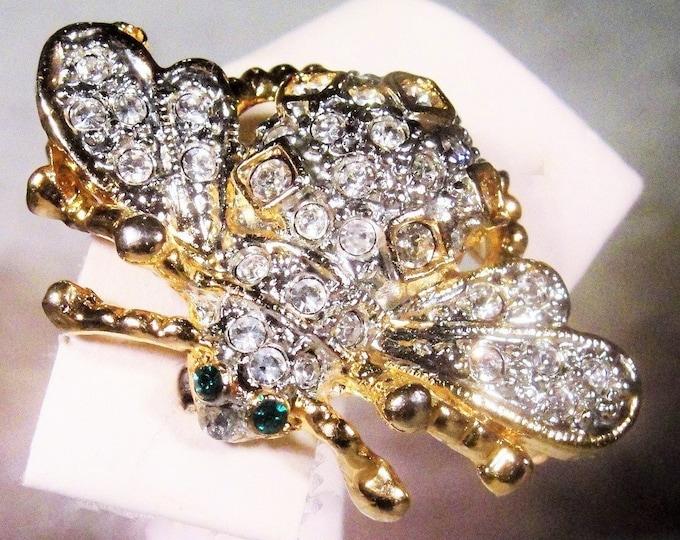 Rhinestone Brooch, Vintage Gold Tone Rhinestone Encrusted Bumble Bee Insect Brooch