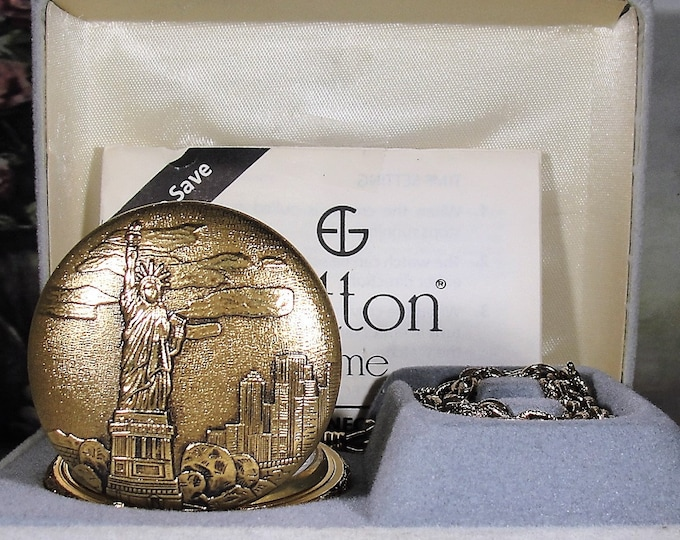 Pocket Watch, SUTTON TIME Vintage 1986 Statue of Liberty Commemorative Pocket Watch, Collectible Serial Number GPH37800, Quartz Pocket Watch