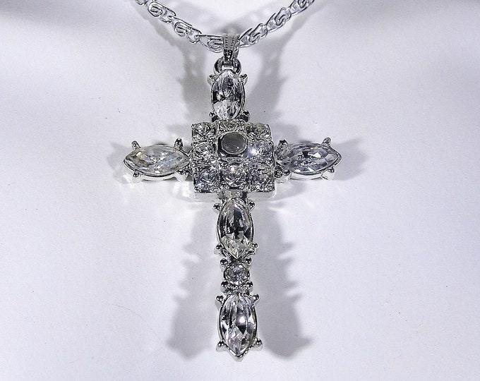 Cross Necklace, Sterling Silver White Gold Plated CZ Cross Necklace, 18.5 Inch Sterling Silver Chain, Religious Necklace, Vintage Necklace