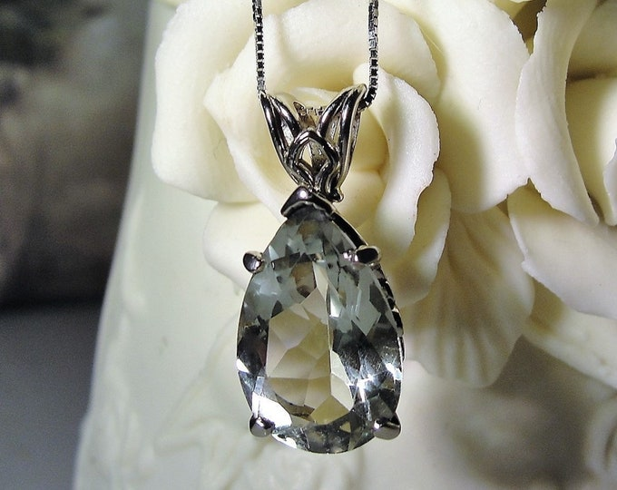 Prasiolite Necklace, 14K White Gold Art Deco Style Green Amethyst Pendant/Necklace, 5.75 CT Pear Shaped Green Amethyst Gem, 20 Inch Chain