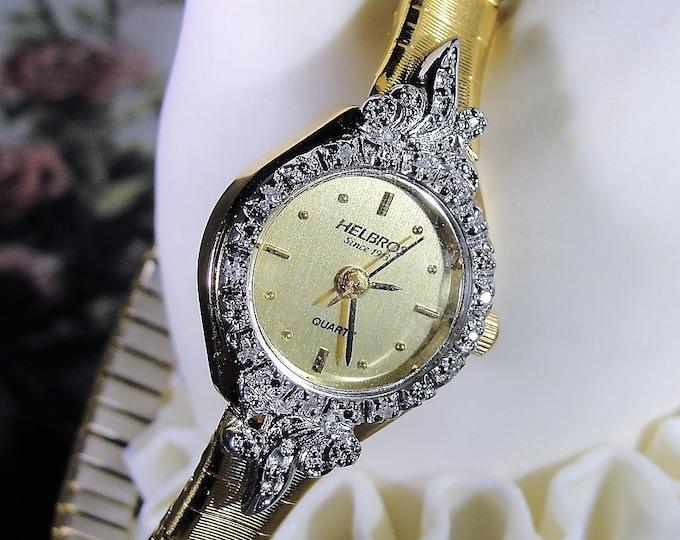 HELBROS Women's Wrist Watch, Genuine Diamond Wrist Watch, Ladies Wrist Watch, Quartz Wrist Watch, Vintage Wrist Watch