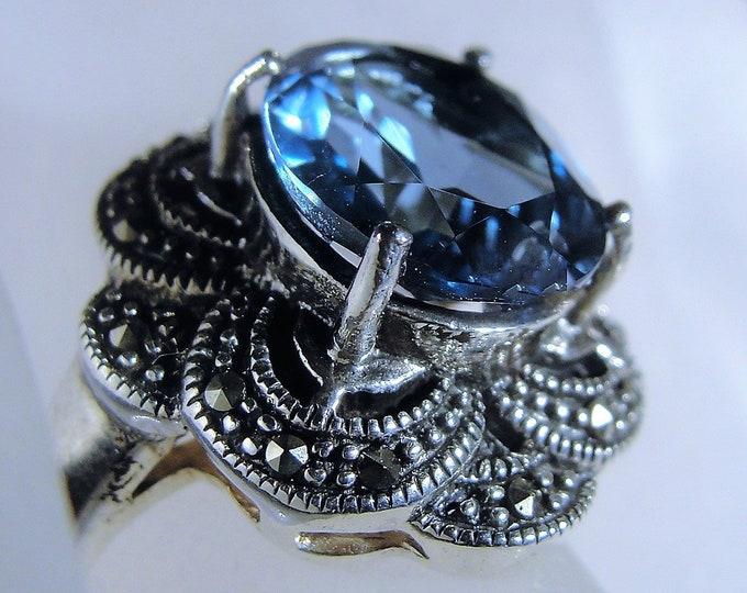 Beautiful Synthetic Blue Topaz and Marcasite Sterling Silver Ring, Swiss Blue Topaz Crystal Ring, Marcasite Ring, Vintage Ring, Size 7