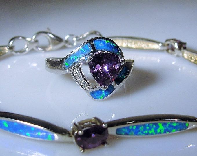 Amethyst & Blue Opal Inlay Jewelry Set, Amethyst Opal Sapphire Ring, Amethyst Blue Opal Bracelet, Sterling Silver Set, Vintage Opal Amethyst