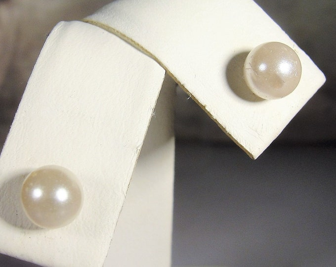 Pierced Earrings, Vintage Cultured 6MM Pearl Stud Earrings, Butterfly Backs, Stainless Steel Posts, Vintage Earrings