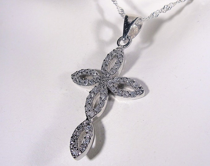 Sterling Silver CZ Cross Necklace, Cubic Zirconia Cross, 15 Inch Sterling Silver Serpentine Chain, Cross Necklace, Vintage Necklace