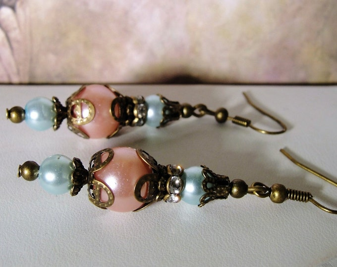 Brass Drop Dangle Earrings, Upcycled Victorian – Edwardian Aqua and Pink Glass Pearls with Old Brass Hardware Accents – Pierced Earrings