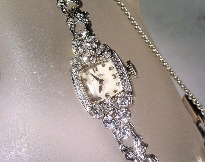HAMILTON Watch, 14K White Gold Diamond Watch, Ladies Diamond Watch, 2.5 carats Diamond Watch, Art Deco Diamond Watch, Vintage Watch