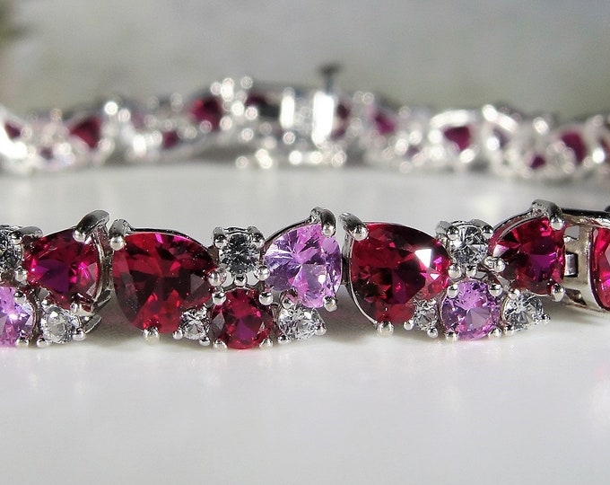 Tennis Bracelet, Ruby Sapphire Sterling Silver Bracelet, Red Ruby Hearts, Pale Pink Heart Sapphires, White Round Sapphires, Vintage Bracelet