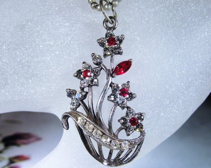 Sterling Silver Necklace, Floral Basket Motif, Red and White Crystal Flower Basket, Silver Necklace, Red White Necklace, Vintage Necklace