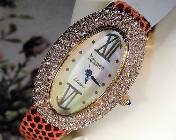 STAUER Rose Gold Fused Oval Women's Watch Studded with 2 Carats of Diamond CZ's, Genuine Burgundy Leather Band, Vintage Watch