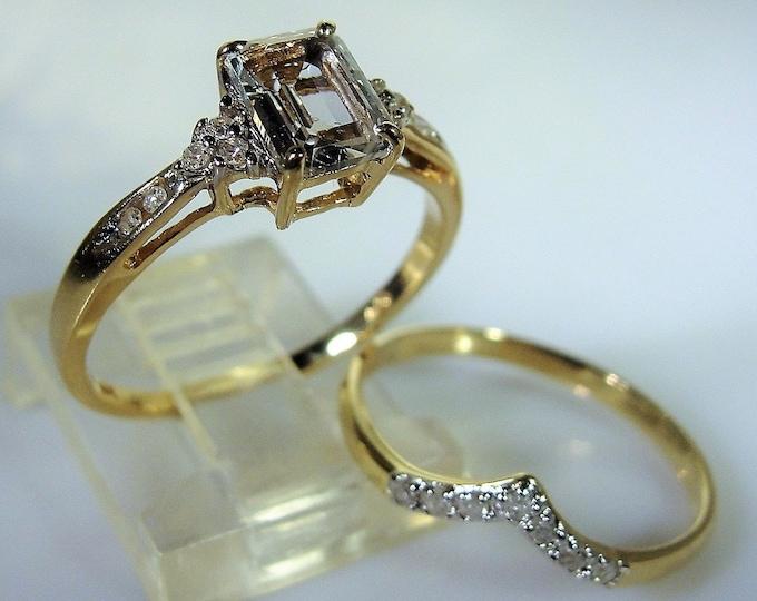 14K White Aquamarine and Diamond Bridal Ring Set, White Aquamarine Engagement Ring, Chevron Wedding Band, Wedding Rings, Vintage Bridal Ring