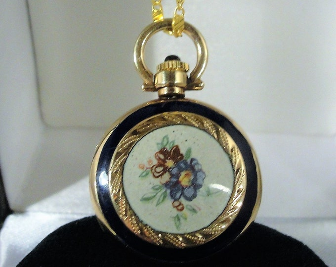 14K Gold Enamel Pendant Watch, Italian / Swiss Pocket Watch, Floral Enamel Pocket Watch, Floral Enamel Pendant Watch, Vintage Watch