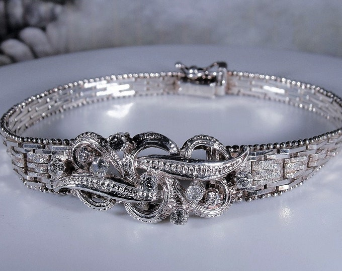 Italian Bracelet, Vintage Italian Riccio Sterling Silver Bracelet with Clear Crystal Accents, Diamond Cut Mesh Bracelet, Vintage Bracelet