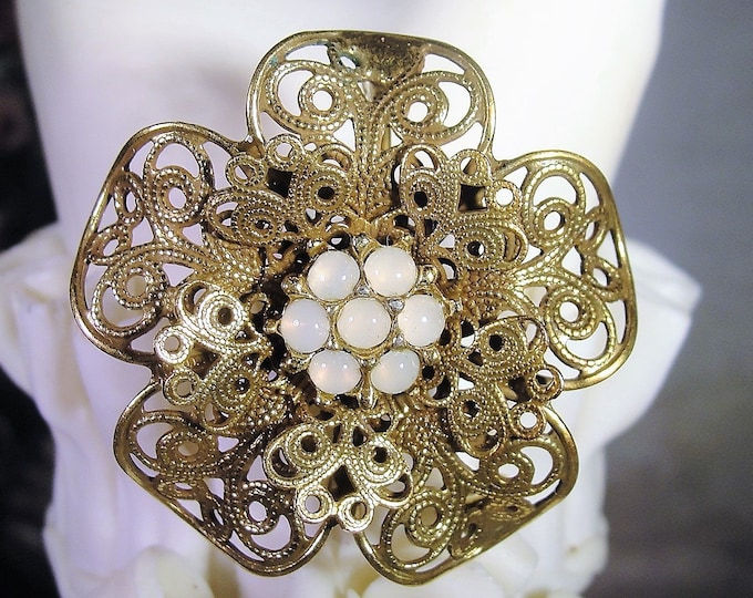 Filgree Moonstone Brooch, Vintage Victorian Style Moonstone Flower Cluster Filigree Brooch