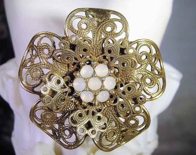 Vintage Victorian Style Moonstone Flower Cluster Filigree Brooch