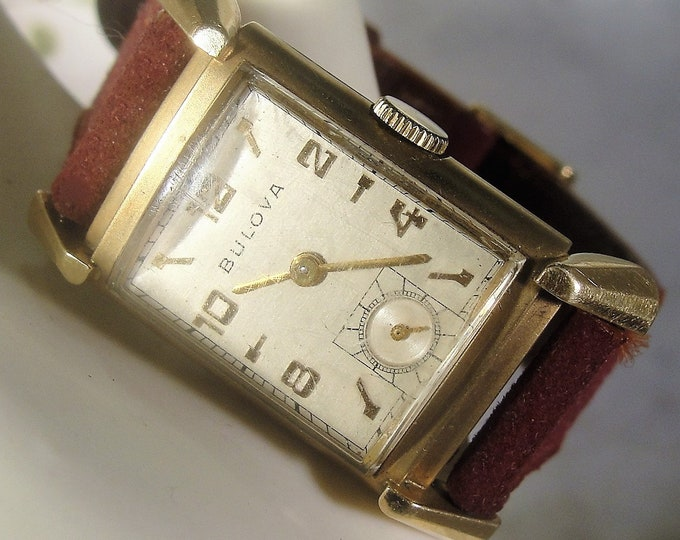 Unisex Wrist Watch, Vintage 10K Gold Filled BULOVA Mechanical Wrist Watch, Unisex Wrist Watch, Gentlemen/Ladies, Burgundy Leather Suede Band