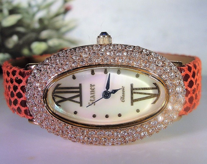 STAUER Womens Rose Gold CZ Oval Quartz Watch and Burgundy Leather Band