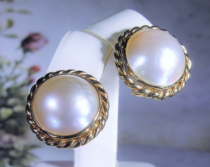 Pierced Earrings, 14K 16MM Mabe Pearl Earrings, Vintage Earrings